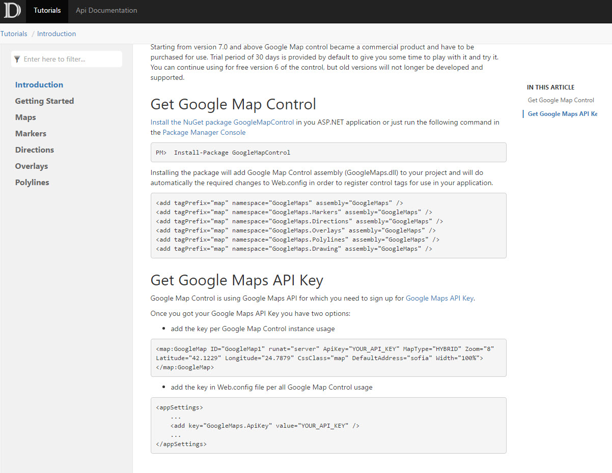 List of functionalities | Add Google Map to your C# or VB net